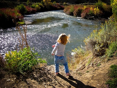 Rock Throwing and Playing in the Provo River